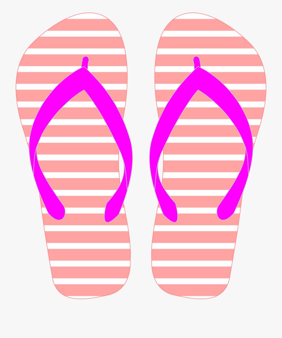 Flipflops With Pink Strap - Summer Flip Flops Clipart, Transparent Clipart