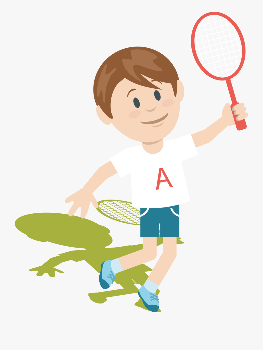 Badminton Clip Art Vector - Boy Playing Badminton Clipart, Transparent Clipart