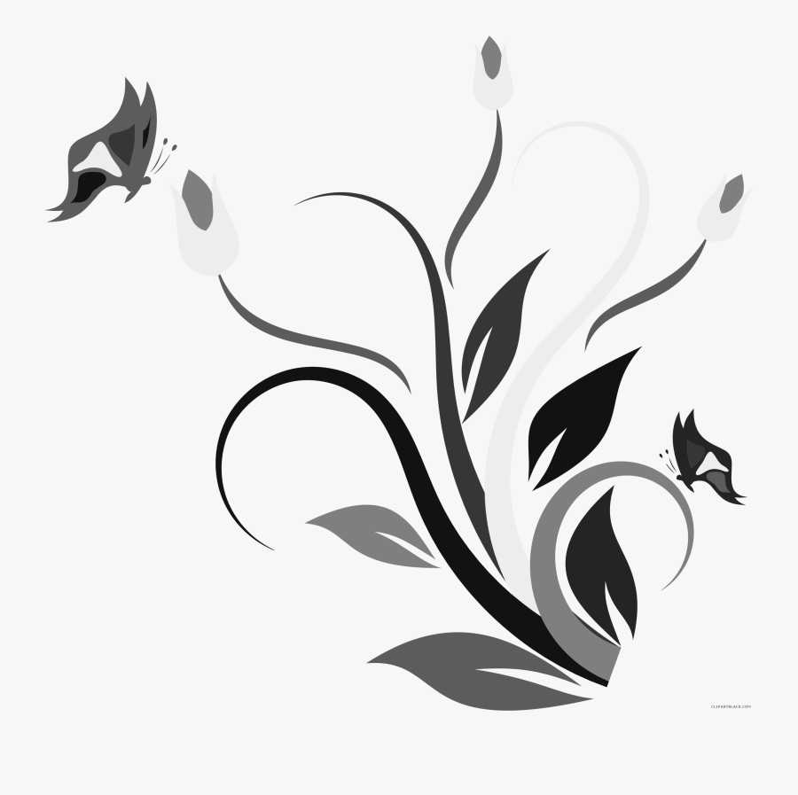 Royalty Free Library Clipartblack Com Animal Free Black - Butterfly And Flower Clip Art Black And White, Transparent Clipart