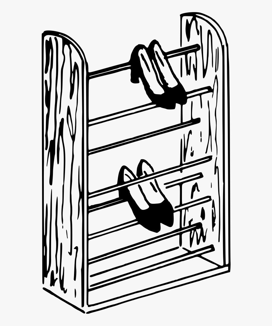 Shoe Clip Art Rack - Drawing Of Shoes Rack, Transparent Clipart