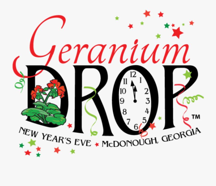 """The Geranium Drop New Year""""s Eve Celebration - Geranium Drop Mcdonough Ga, Transparent Clipart"""
