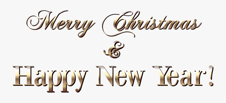 Gold Merry Christmas Text Style Png Clipart Image - Merry Christmas Happy New Year Text Png, Transparent Clipart