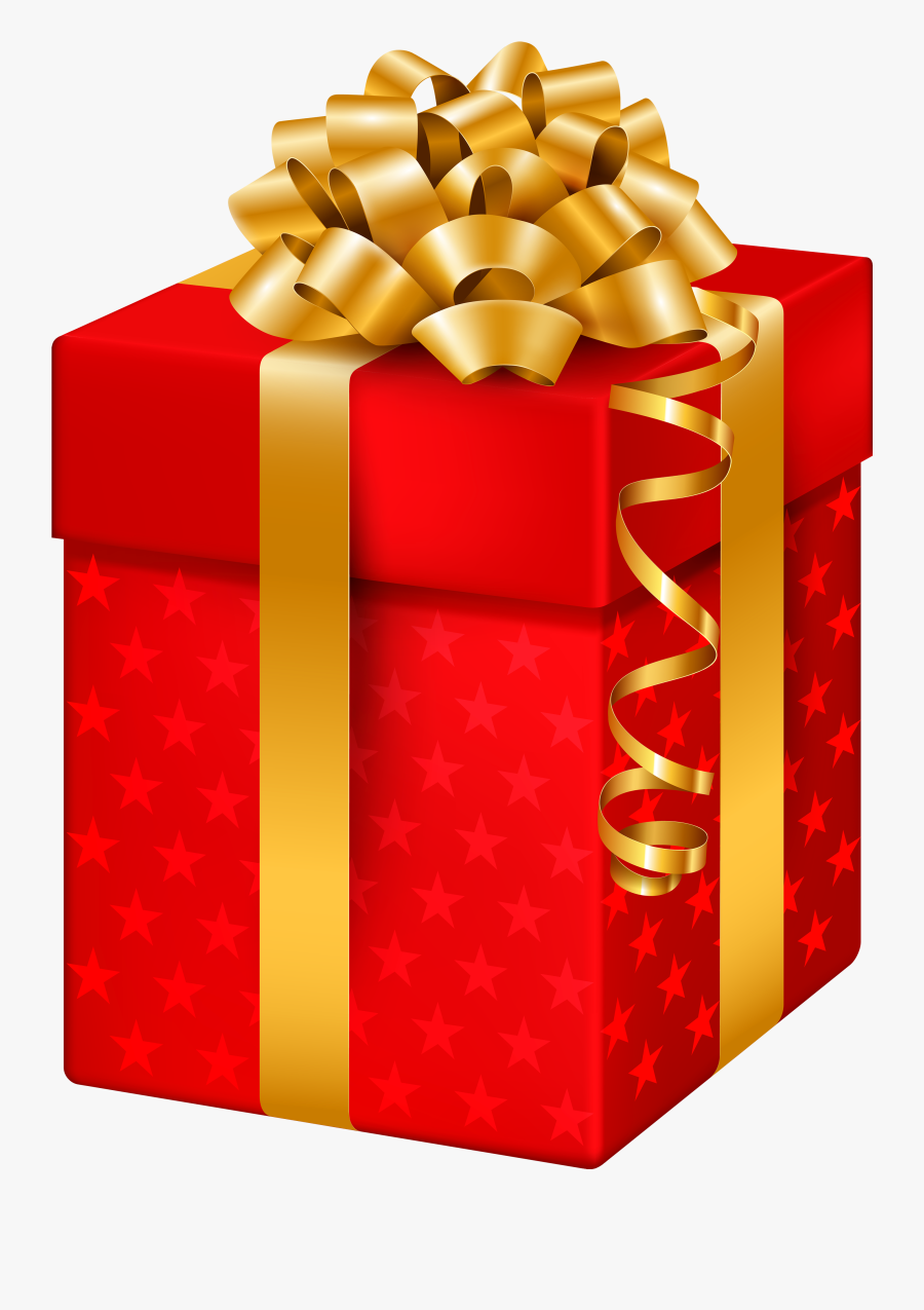 Red Gift Box With Stars Png Clipart - Christmas Gift Boxes Png, Transparent Clipart