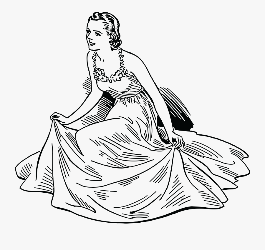 Women Clipart Dress - Woman In Dress Clipart Black And White, Transparent Clipart