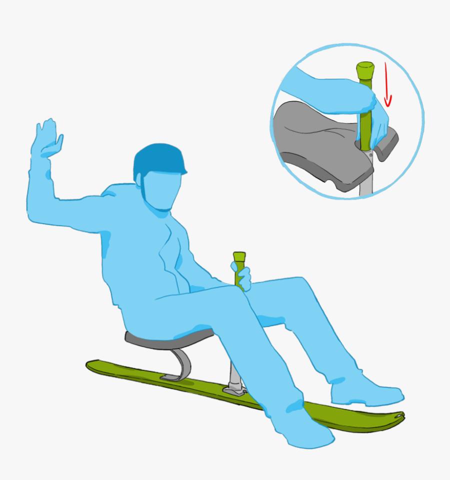 Mountains Clipart Ski - Sitting On One Ski, Transparent Clipart