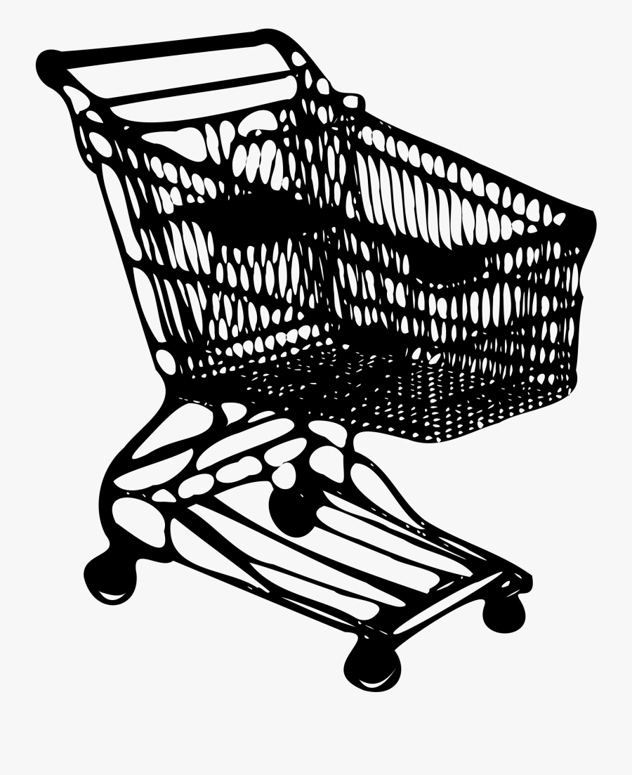 Shopping Cart - Shopping Cart Line Drawing, Transparent Clipart