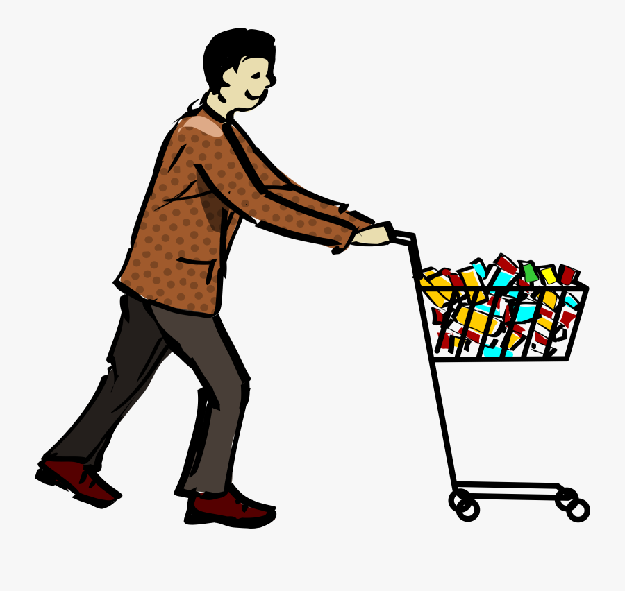 Shopping Cart Shopping - Man With Shopping Cart Png, Transparent Clipart