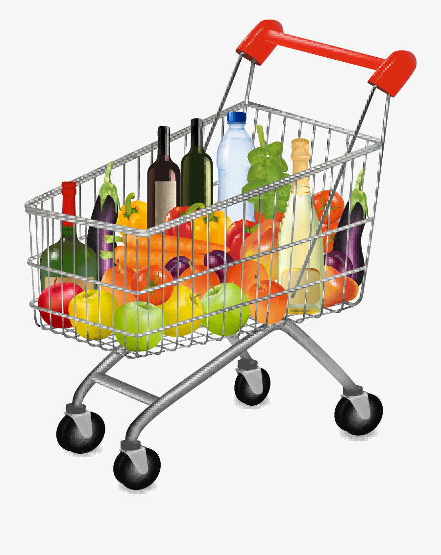 Groceries Vector Shopping Supermarket - Shopping Cart With Groceries Png, Transparent Clipart