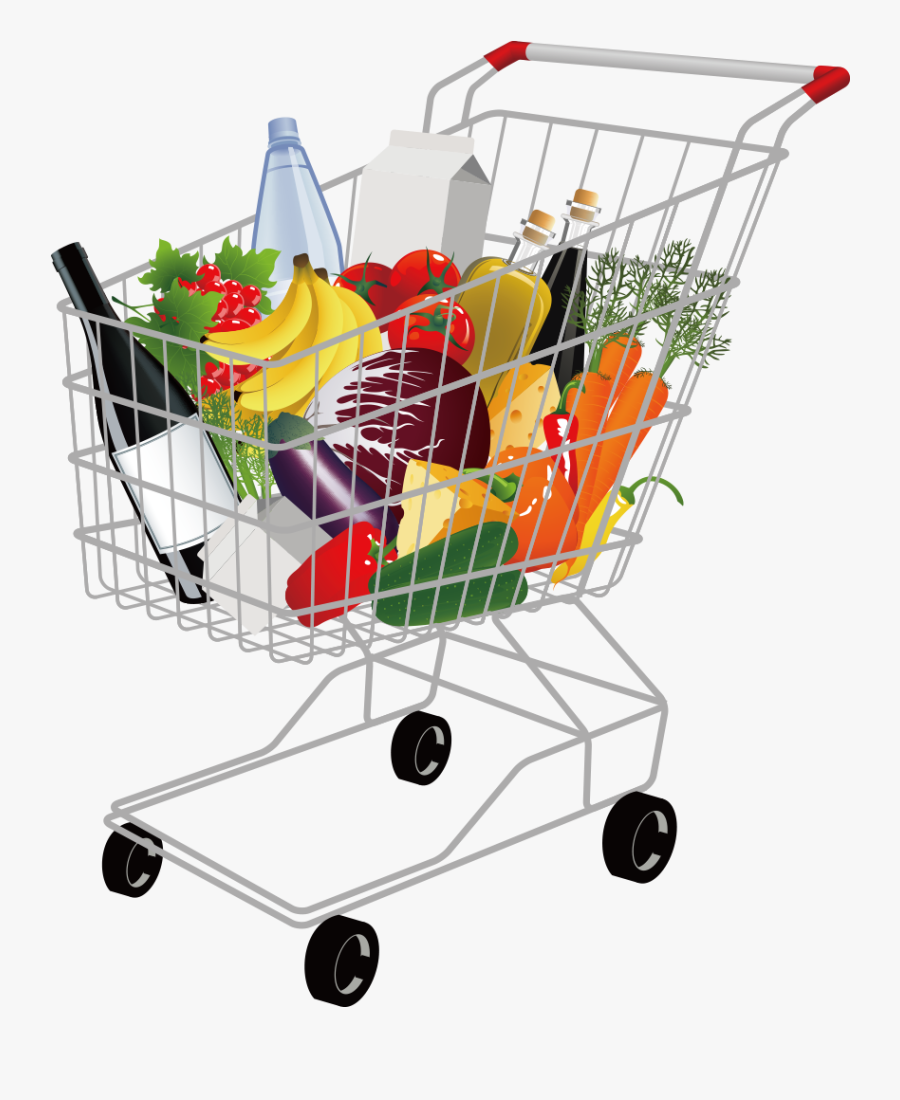 Supermarket Grocery Store Cart - Full Shopping Cart Png, Transparent Clipart