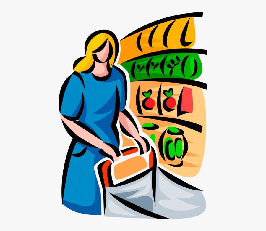 Vector Illustration Of Food Shopper With Shopping Cart - Grocery Clipart, Transparent Clipart