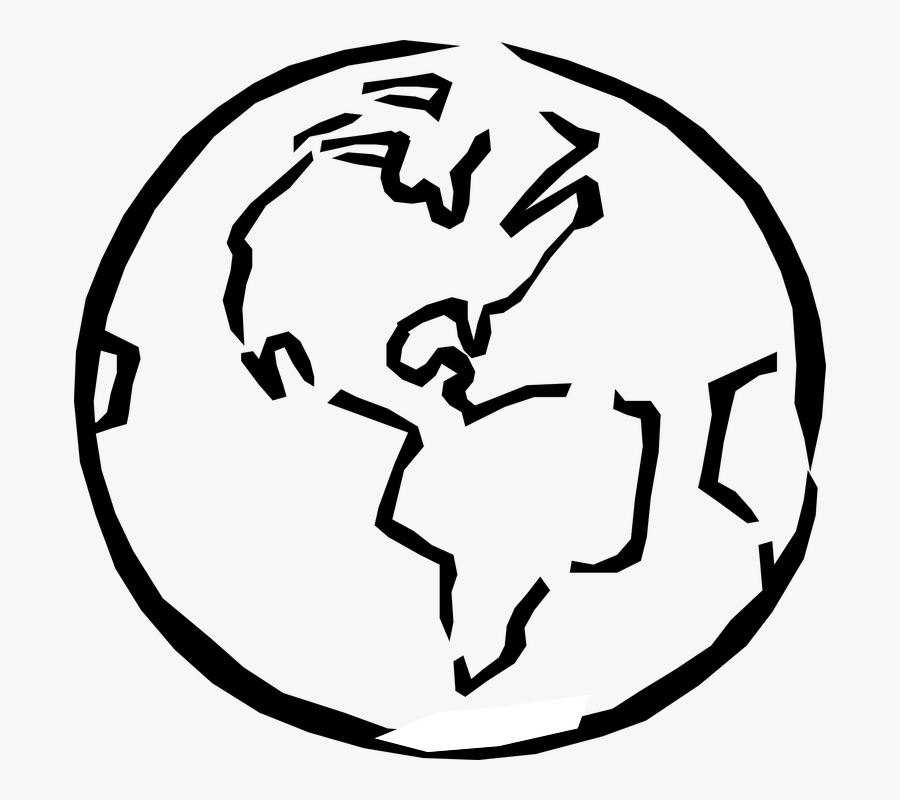 Globe, World, Planet, Earth, Sketch, Artistic - World Clip Art Black And White, Transparent Clipart