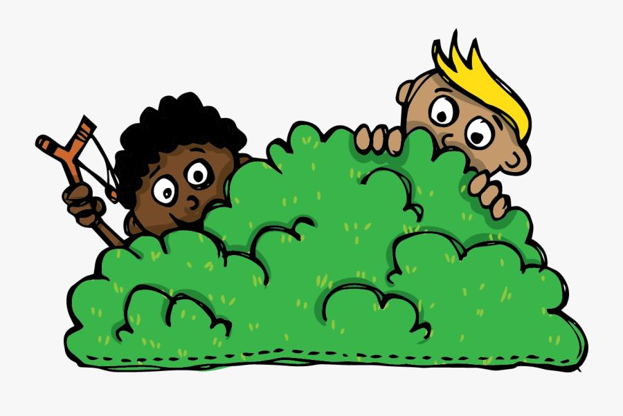 Children Hiding Behind The Bush - Hiding In Bush Clipart, Transparent Clipart