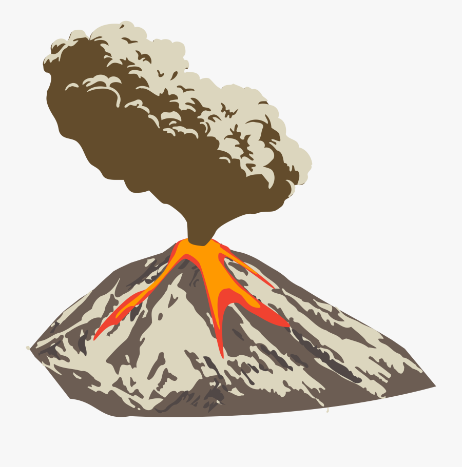 Erupting Volcano With Ash Plume And Lava Flow Clip - Volcanic Eruption Clipart Png, Transparent Clipart