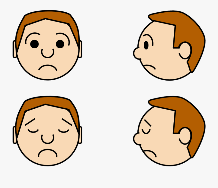 Faces Emotions - Cartoon Face Front And Side, Transparent Clipart