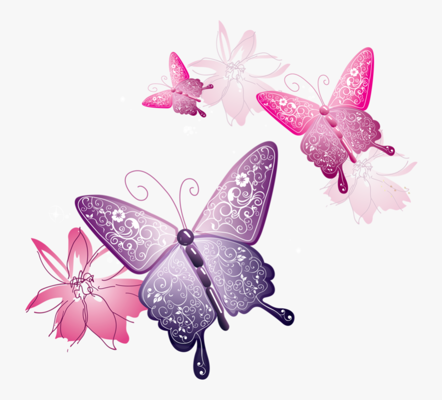 Spring Flowers And Butterflies Border Download - Transparent Background Pink Butterfly Png, Transparent Clipart