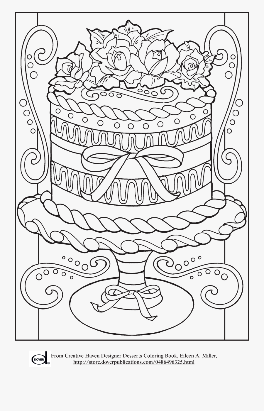 Free Printable Adult Coloring Pages - Cake Coloring Pages For Adults, Transparent Clipart