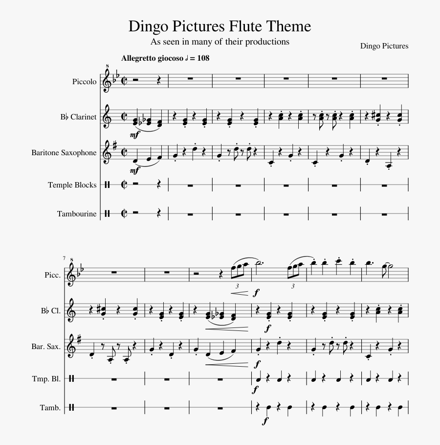 Dingo Pictures Flute Theme Sheet Music Composed By - Kristy Krab Saxophone Sheet Music, Transparent Clipart
