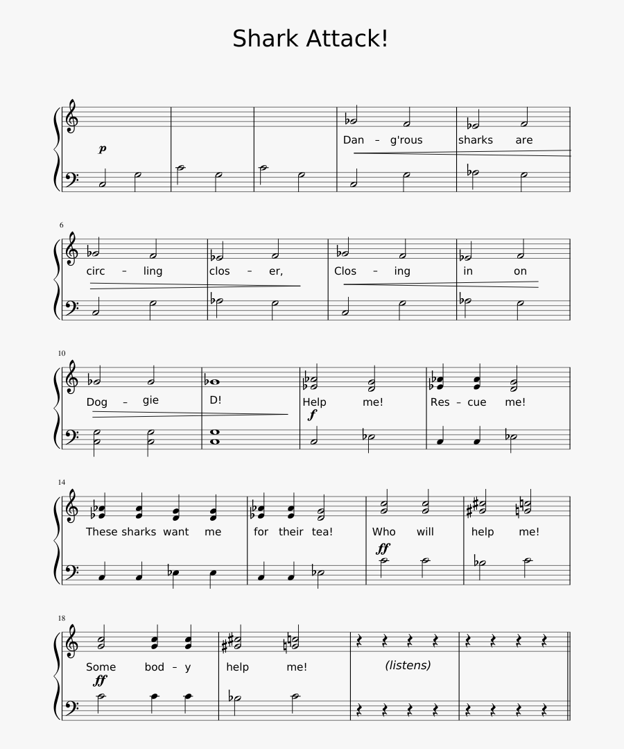 Shark Attack Sheet Music 1 Of 3 Pages - Night King Sheet Music, Transparent Clipart