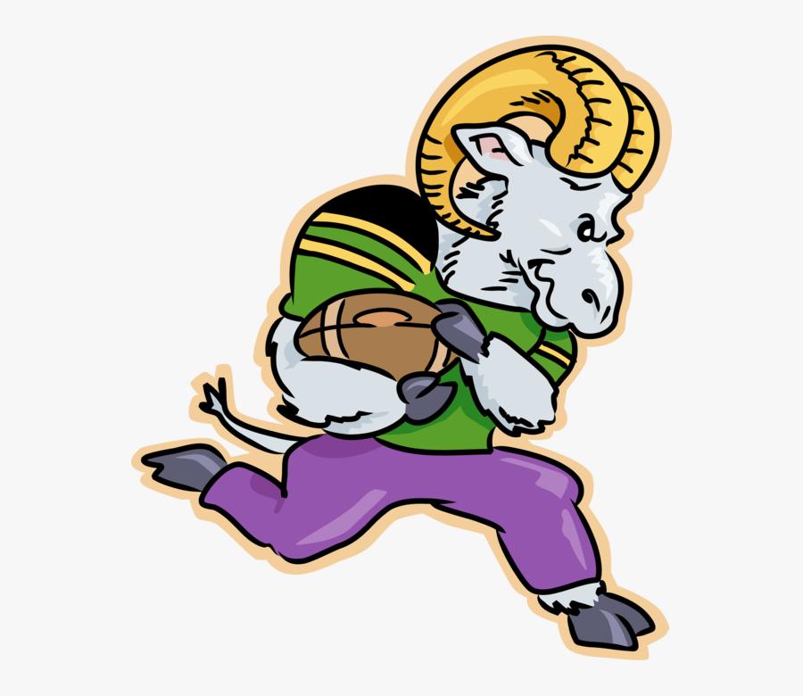 Vector Illustration Of Mountain Goat Ram Runs With - Ram Clipart Football, Transparent Clipart