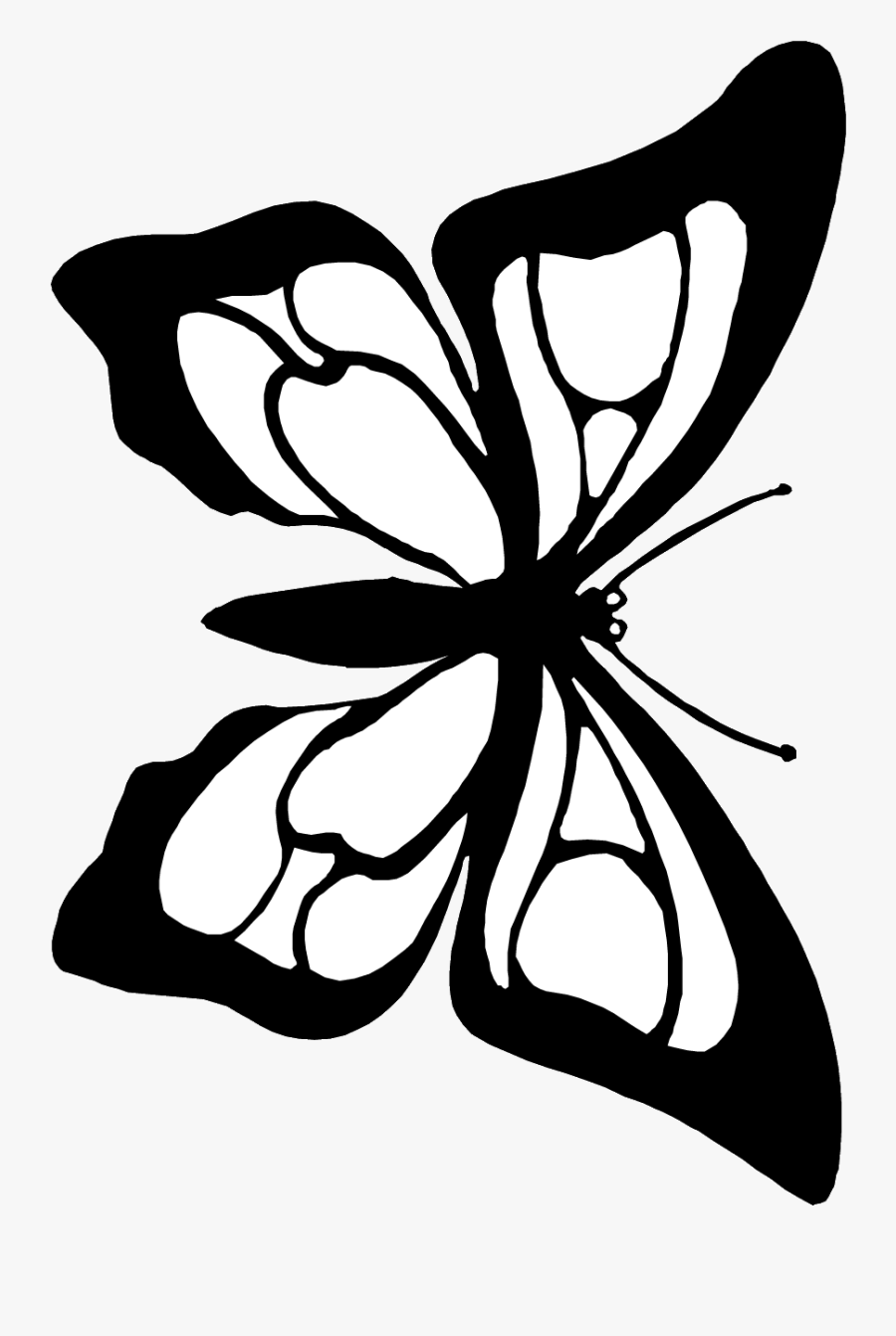Butterfly Cutout Coloring Page - Butterfly Black White To Cut Out, Transparent Clipart