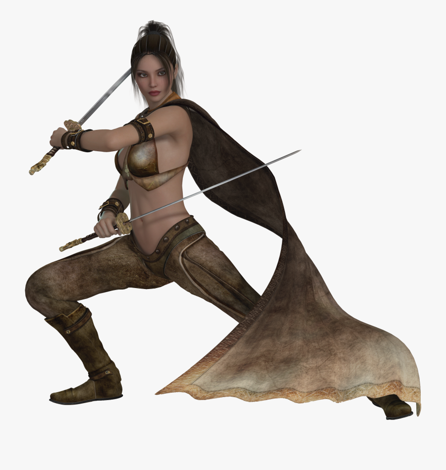 Woman Warrior Dressed In A Raincoat With A Sword Free - Warrior Female Png, Transparent Clipart