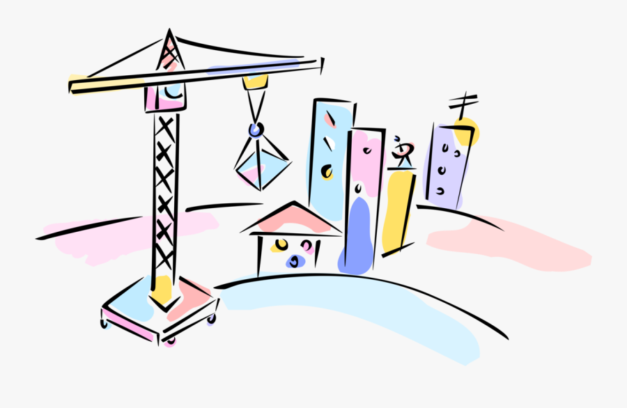 Vector Illustration Of Building Construction Crane - Cartoon, Transparent Clipart