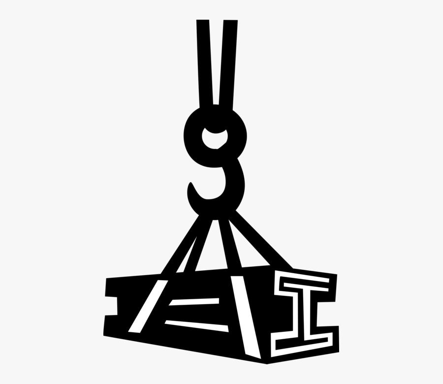 Vector Illustration Of Construction Industry Crane - Steel Beams Clip Art, Transparent Clipart