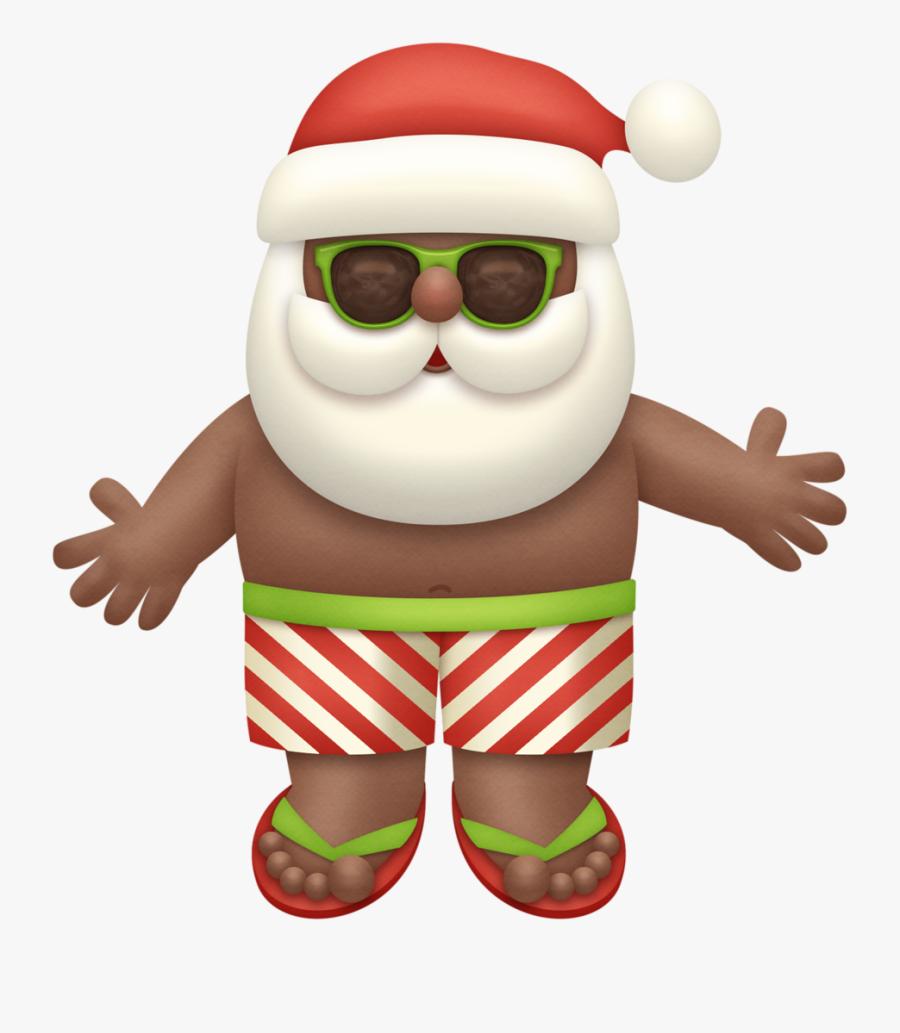 Transparent Tropical Santa Clipart - Summer Santa Claus Transparent, Transparent Clipart