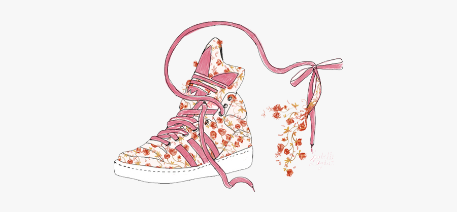 #adidas #shoe #sneaker #hightop #flowers #floral #drawing - Drawing Sneaker, Transparent Clipart