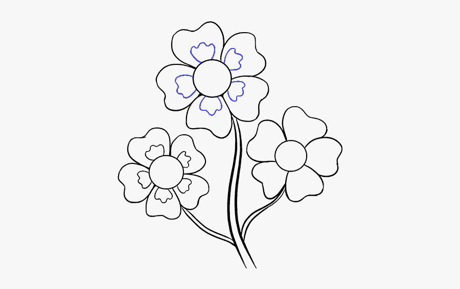 Clip Art Cool Flowers Drawings - Easy Drawing Of Flowers, Transparent Clipart