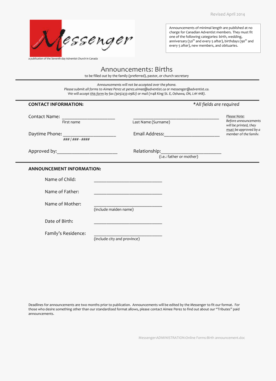 Clip Art Free Blank Announcement At - Church Forms For Annocements, Transparent Clipart