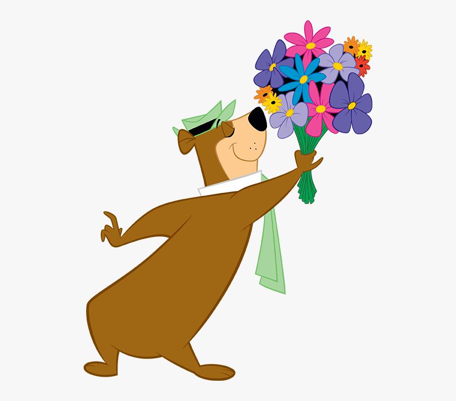Transparent Yogi Bear Png Yogi Bear With Flowers Free Transparent Clipart Clipartkey