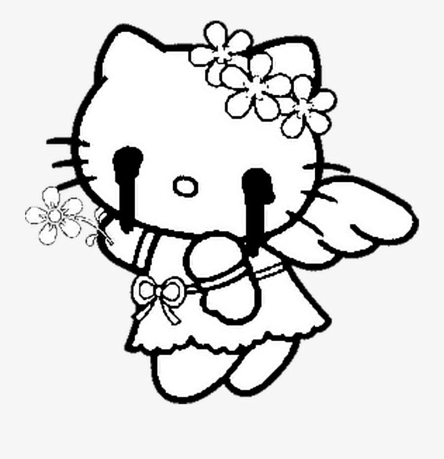 Glitch Hk Hello Kitty Cute Horror Freetoedit Hello Kitty Angel Coloring Free Transparent Clipart Clipartkey