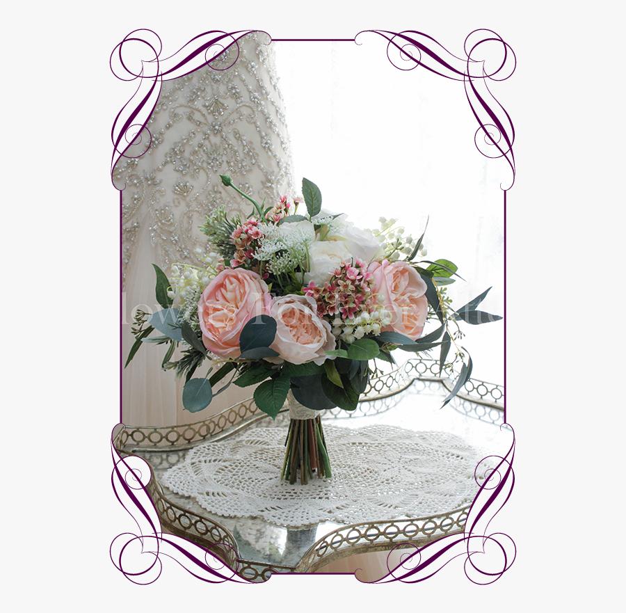 Clip Art Peony Wedding Bouquet - Rustic Artificial Wedding Flowers, Transparent Clipart