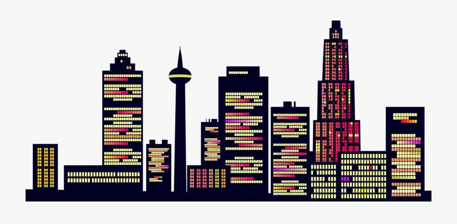 Building,city,metropolis - Generic Night Skyline, Transparent Clipart