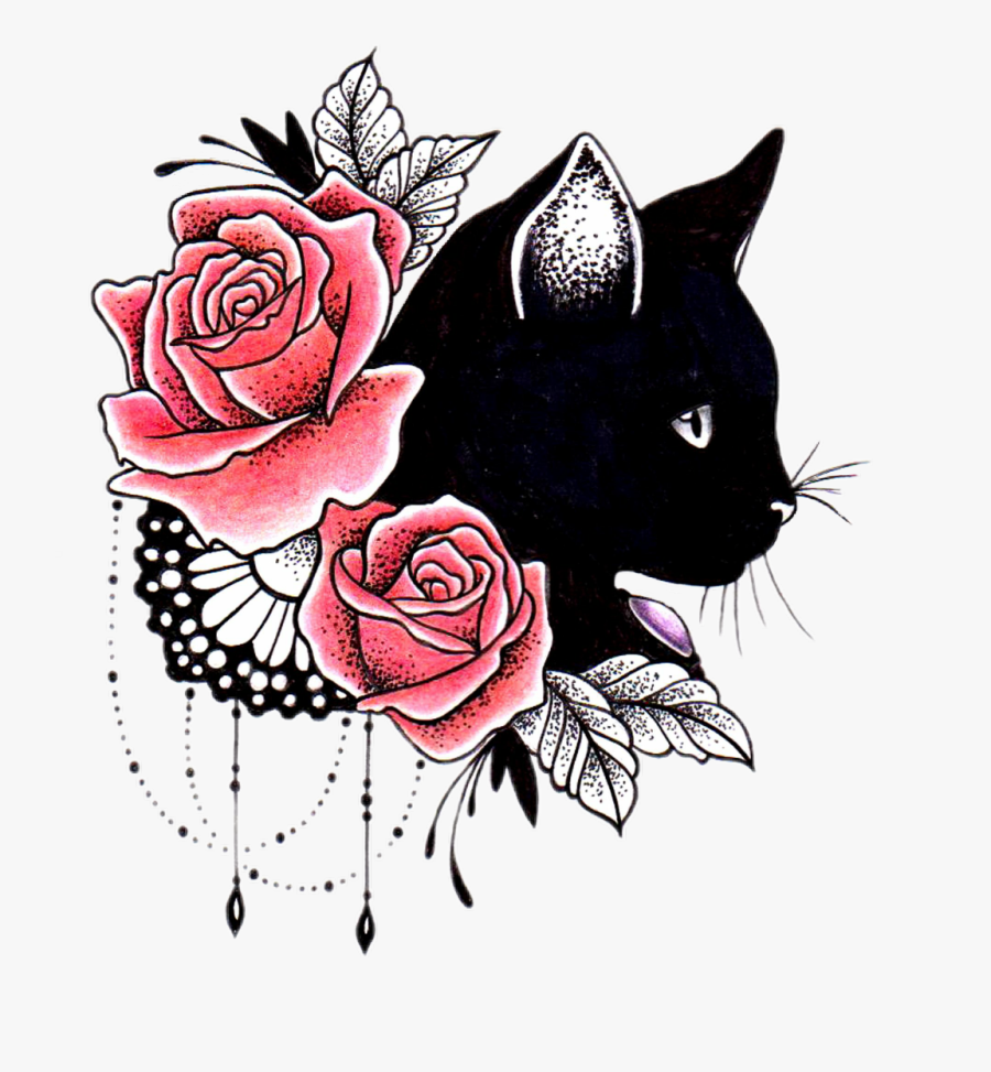#cat #rose #tattoo #competition - Cat And Flowers Tattoo, Transparent Clipart