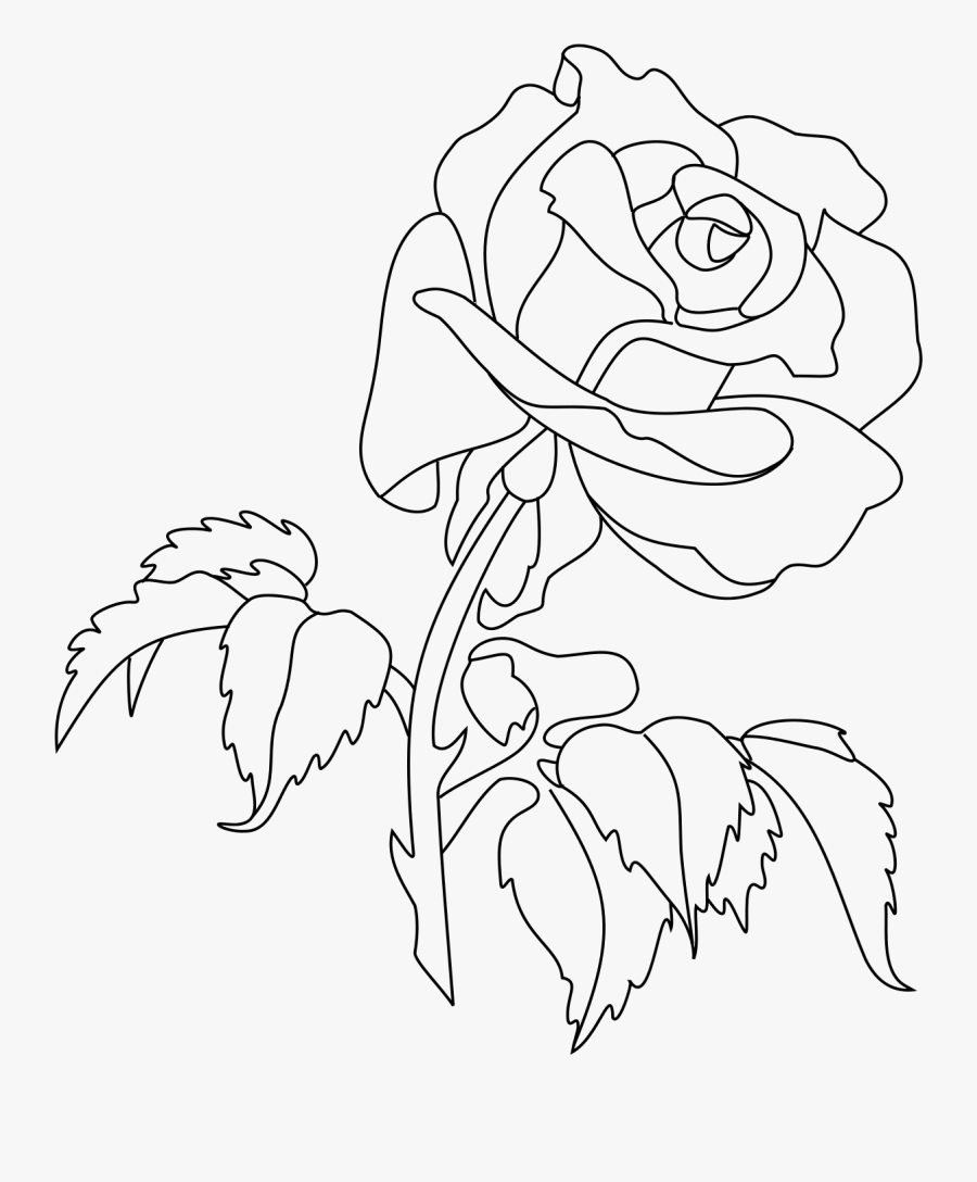 Rose Line Art Drawing Clip Art - Rose Line Drawing Tattoo, Transparent Clipart