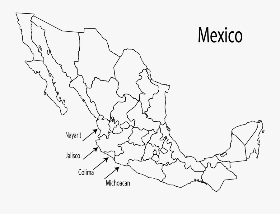 Mariachi Music Is Native To The Region Of Western States - Blank Map Of Mexico, Transparent Clipart