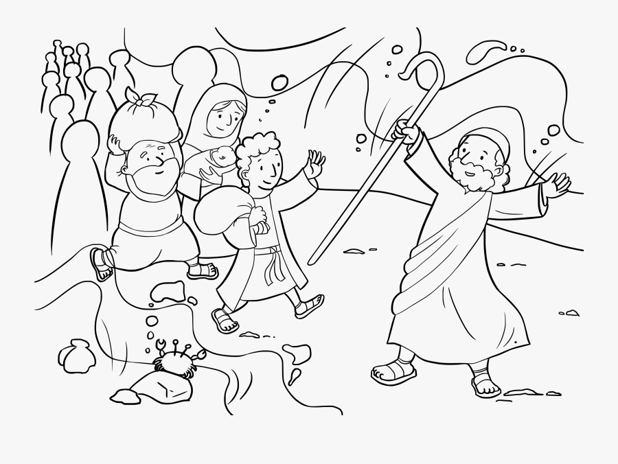 Exodus Big Image Png - Crossing The Red Sea Coloring Page, Transparent Clipart
