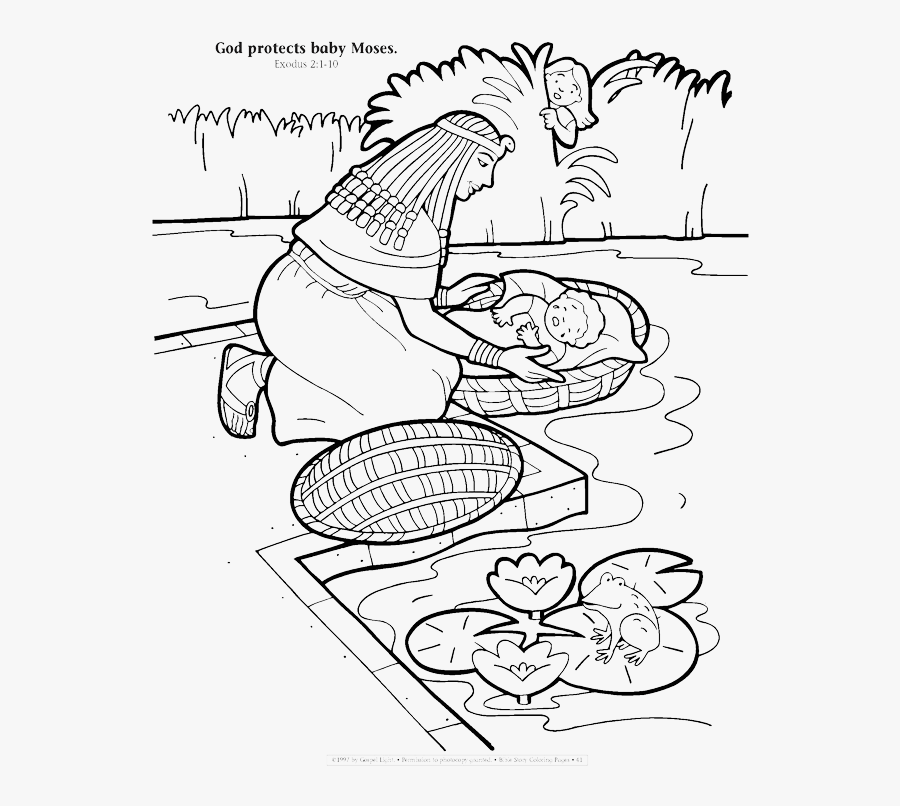 God Protects Moses Coloring Page, Transparent Clipart