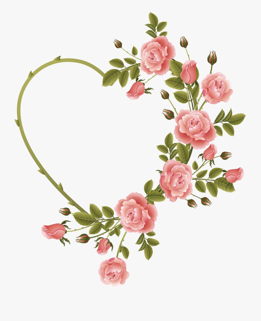 Rose Decorated Heart Frame - Flower Heart Frame Png, Transparent Clipart