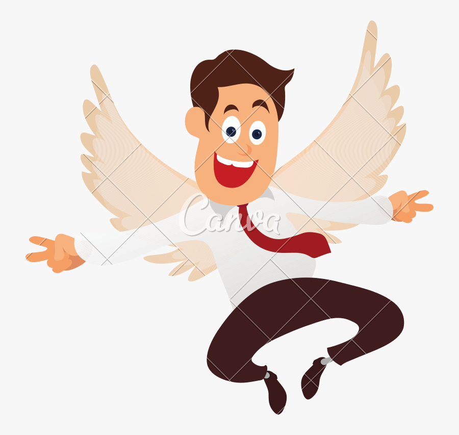 Cartoon Character Of A Cheerful Businessman Vector - Illustration, Transparent Clipart