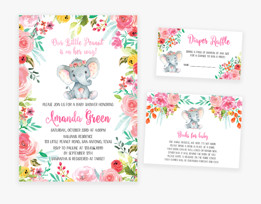 Colorful Floral Elephant Baby Shower Invitation Pack - Dinosaur Baby Shower Invitations For A Girl, Transparent Clipart