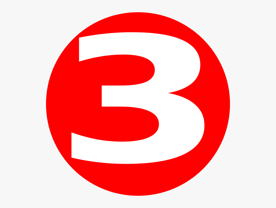 Glossy Red Icon With - Number 3 In A Red Circle , Free ...