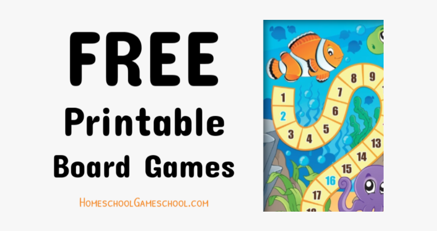 Free Printable Board Games - Anemone Fish, Transparent Clipart