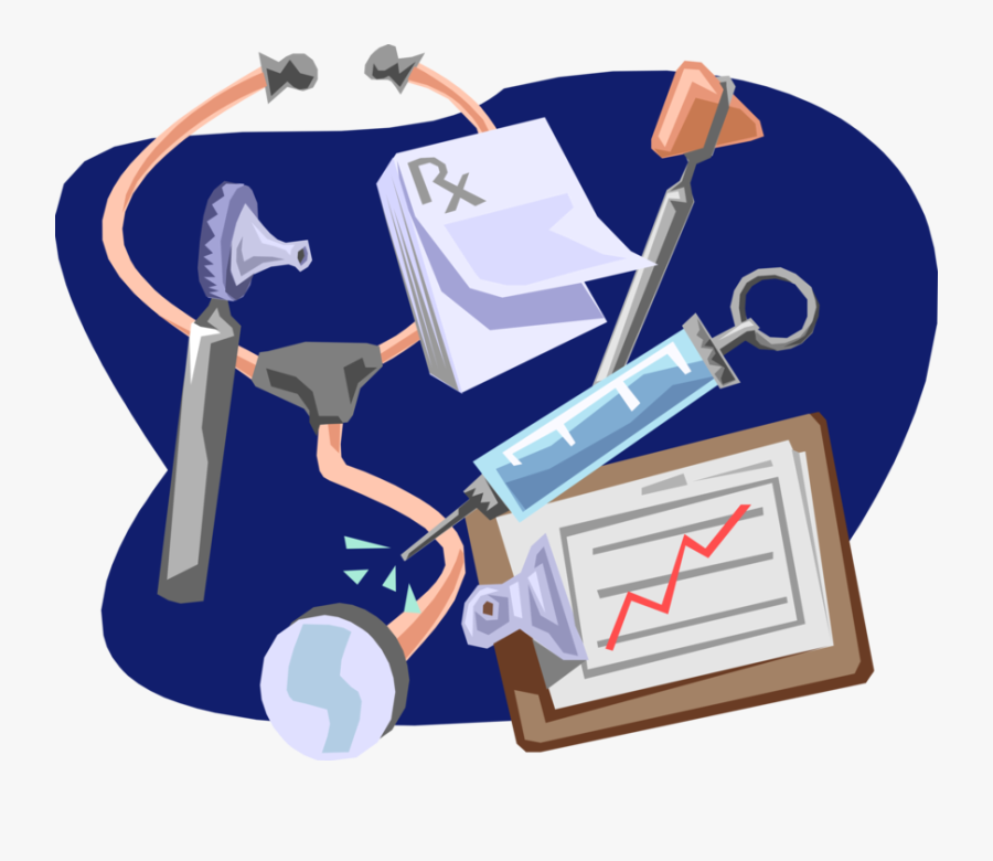 Vector Illustration Of Stethoscope With Syringe And - Medical Clip Art, Transparent Clipart
