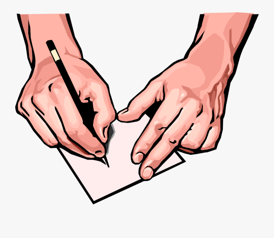 Vector Illustration Of Hands With Pen Writing Instrument - Writing Hand Png, Transparent Clipart