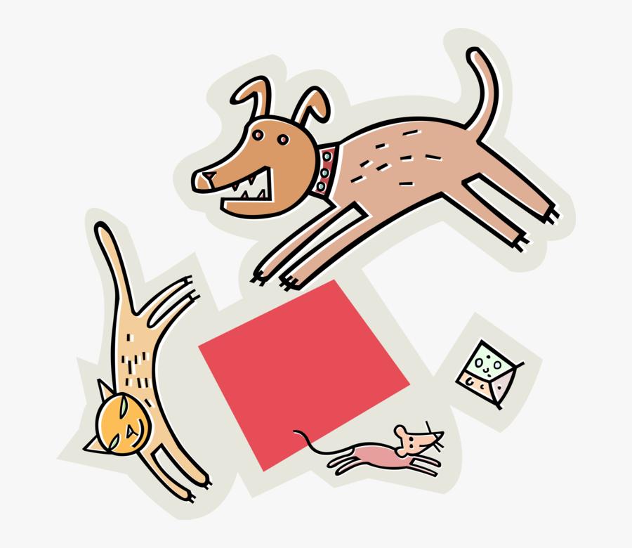 Vector Illustration Of Dog Chasing Cat, Chasing Mouse, - Dog Cat Chasing Mouse, Transparent Clipart