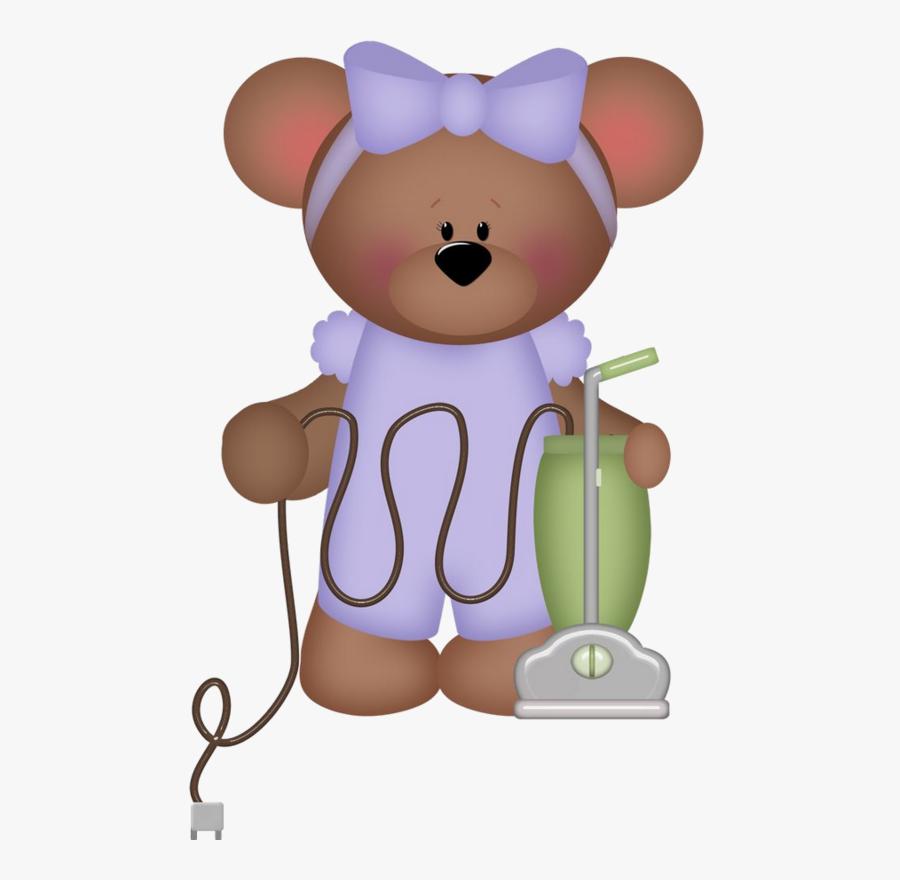 Transparent Roaring Bear Clipart - Teddy Bear Doing House Chores, Transparent Clipart