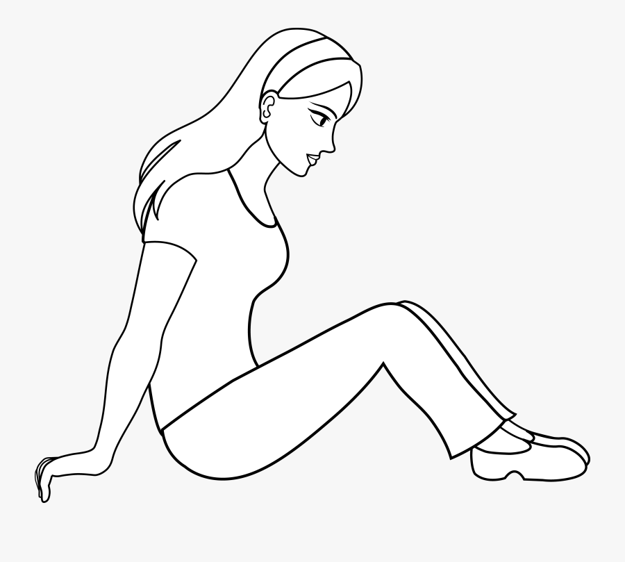 Girl - Outline - Clipart - Person Sitting Cartoon Outline, Transparent Clipart